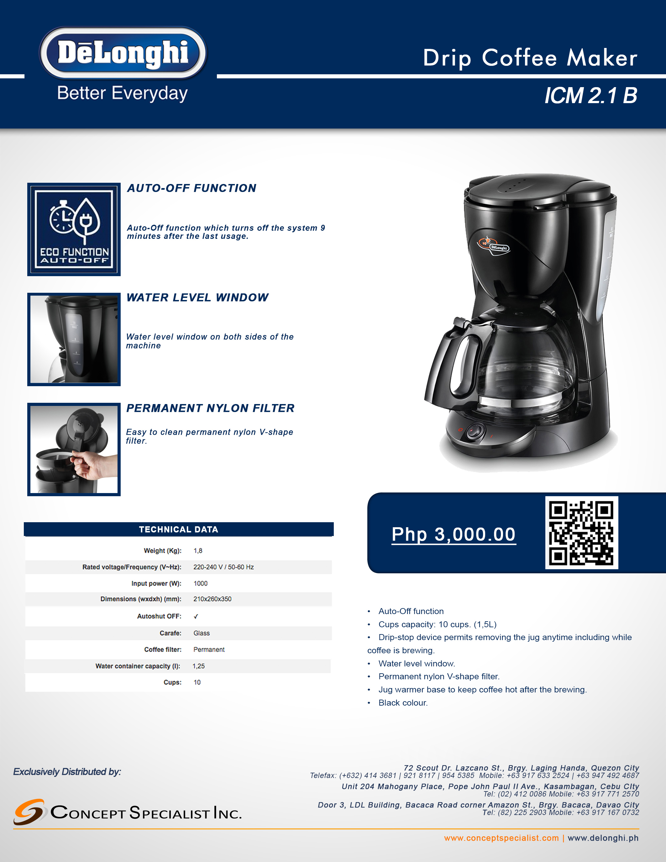 Drip Coffee Maker Delonghi Philippines Icm 21 B 14011r Download Brochure